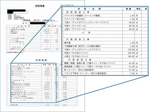 工事の詳細までわかるお⾒積り書︕