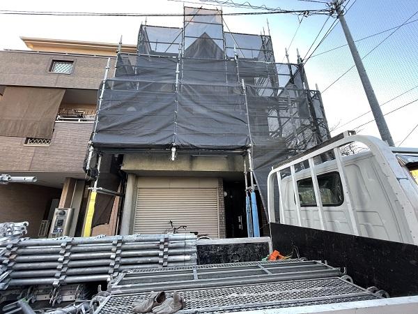 大阪府東大阪市 屋根塗装・外壁塗装 足場設置 飛散防止ネット (4)