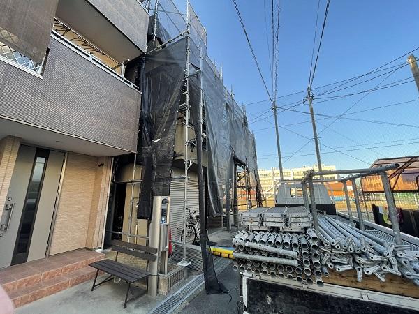 大阪府東大阪市 屋根塗装・外壁塗装 足場設置 飛散防止ネット (8)