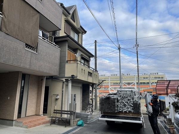 大阪府東大阪市 屋根塗装・外壁塗装 足場設置 飛散防止ネット (1)