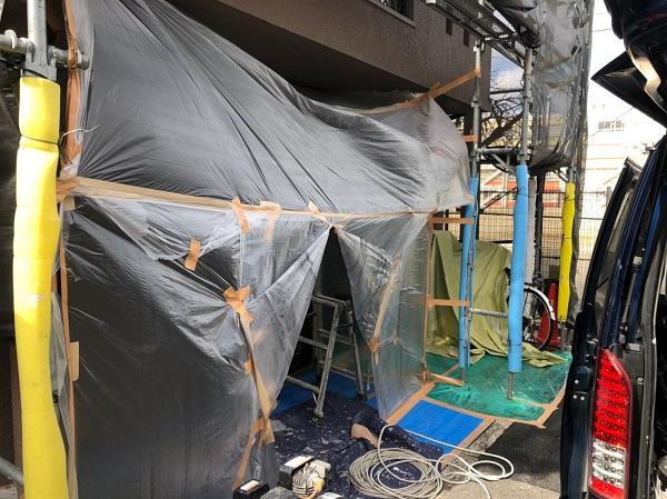 大阪府東大阪市 屋根塗装・外壁塗装・付帯部塗装 外壁中塗り・上塗り 日本ペイント ファイン4Fセラミック (7)